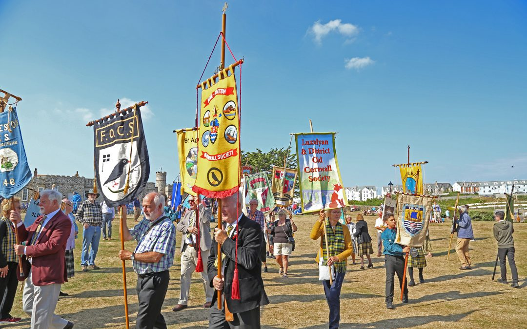 Federation of Old Cornwall Societies Banners at the Gorsedh ceremony 2021